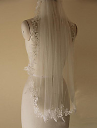 Wedding Veil One-tier Elbow Veils Lace Applique Edge Tulle White / Ivory