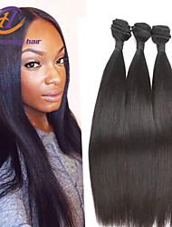 """3pcs haute qualité / lot 8 """"-26"""" brésilienne de cheveux vierge droite couleur de cheveux 1b cheveux humains non transformés tisse vente"""