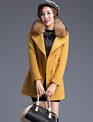 Women's Solid Red / Green / Yellow Coat , Casual Long Sleeve Others