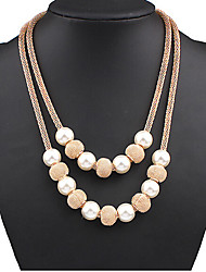 Women's Layered Necklaces Pearl Necklace Pearl Alloy Ball Fashion Screen Color Jewelry Special Occasion Birthday Gift