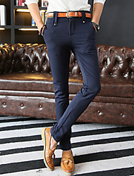 Men's Slim Elastic Chinos , Trousers Casual / Work / Formal Pure Cotton / Polyester / Spandex