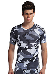 Running Tops Men's Short Sleeve Breathable Running Sports Sports Wear Gray S / M / L / XL
