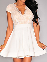 Women's Lace Nude Illusion Key-Hole Back Flared Dress