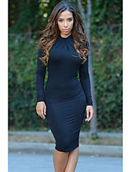 Women's Mock Neck Sexy Backless Midi Dress