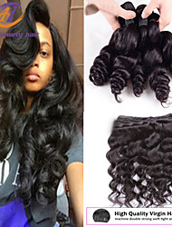 "3PCS/lot 8""-26"" Brazilian Virgin Hair Loose Wave Natural Black Color Raw Human Hair Weaves Hot Sale."