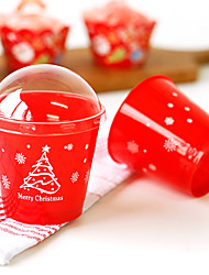 Red Christmas Baking Tree for Christmas Baking Mousse Cups Moulds(25 Pieces)