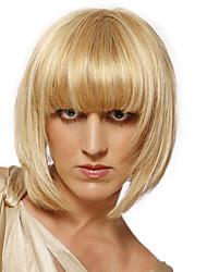 Elegant Short Straight Capless Human Virgin Remy Hand Tied-Top Hair Wigs