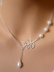 Women's Simple Sweet Pearl Metal Leaf Tassels Chain Pendant Necklace