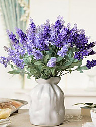 10 Flower Heads Polyester Lavender Artificial Flowers
