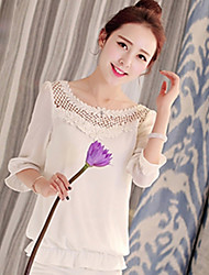 Women's Casual/Daily Simple Spring Blouse,Solid Round Neck ¾ Sleeve White Cotton / Polyester Thin