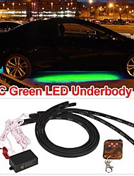 Set 4 Car Underbody Under Glow Green LED Light Strip