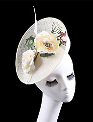 Women Ivory Sinamay Flowers Headbands Fascinators Feather Wedding Kentucky Derby Hats
