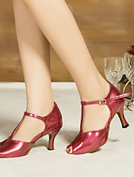 Non Customizable Women's Dance Shoes Latin Satin / Leather Flared Heel Brown / Red / White