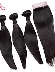 smilco cheveux brésiliens vierges droite avec fermeture 3 faisceaux avec fermeture 4 * 4 de soie partie libre armure de cheveux avec