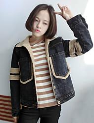 Women's Solid Black  Denim / Wool / Faux Fur Coat , Casual / Cute