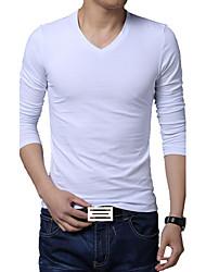 Masculino Camiseta Algodão / Elastano Cor Solida Manga Comprida Casual / Tamanhos Grandes-Preto / Azul / Branco / Cinza
