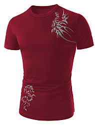 Men's Round T-Shirts , Cotton Short Sleeve Casual Embroidery Summer YYS