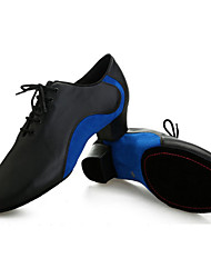 Customizable Men's Dance Shoes Leather Leather Latin Flats / Heels Low Heel Indoor Blue / Red