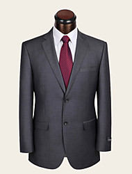 Suits Standard Fit Notch Single Breasted Two-buttons Wool Solid 2 Pieces Gray