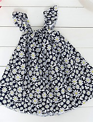 Girl's Black Dress,Floral Cotton Summer
