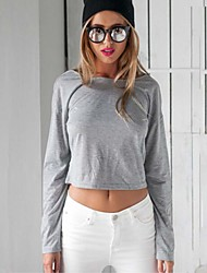 Women's Solid Gray Backless Blouse , Crew Neck Long Sleeve T Shirt