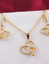 Xinjiu hot Korea Women'S Accessories 18K Gold Plated Heart-Shaped Necklace Earring Jewelry Sets
