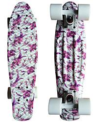 roxo floral gráfico impresso skate de plástico (22 polegadas) bordo do cruzador com rolamento ABEC-9