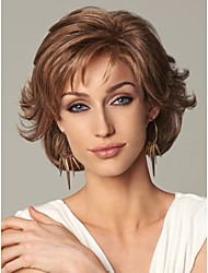 Capless Brown Short High Quality Natural Curly Hair Synthetic Wig with Side Bang