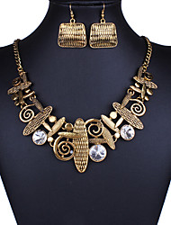 MPL European and American fashion hollow pattern retro Necklace Earrings Set
