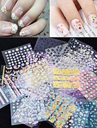 50PCS Flower and Lace Pattern Nail Sticker Decoration