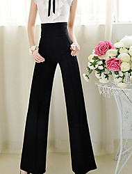 Women's Solid Color Black Pants , Casual / Work High Rise Maxi