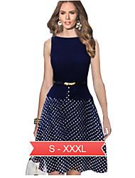 Women's Sleeveless Polka Dot Fit & Flare Chiffon Dress