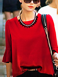 Women's Solid Red / White / Black / Yellow Blouse , Round Neck ¾ Sleeve