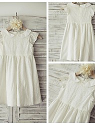 Sheath/Column Knee-length Flower Girl Dress - Cotton Short Sleeve