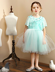 Girl Blue Satin Princess Dresses