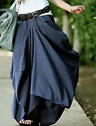 Women's Vintage Casual Asymmetrical Cotton Linen Maxi Skirt