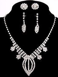2 Pairs of Rhinestone Earrings with Bridal Wedding Jewelry Sets Crystal Ring Bracelet Necklace Earrings Sets