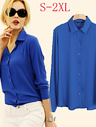 VIVI Women's Solid Blue / Red / White / Black / Yellow Casual Shirts , Sexy / Casual / Work Shirt Collar Long Sleeve