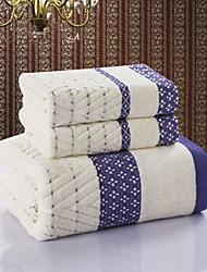 Ensemble de serviette de bain Bleu Vert,Jacquard Haute qualité 100% Coton Serviette