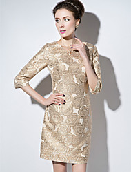 Sheath / Column Mother of the Bride Dress Short / Mini 3/4 Length Sleeve Polyester with Pattern / Print