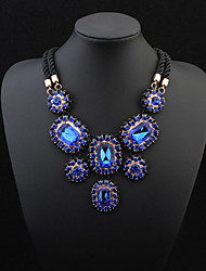 European Style Fashion Luxury Square Imitation Gemstone Necklace