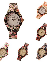Geneva Casual Women Dress Wristwatches Female Casual Plastic Flower Print Quartz Watch Women Relogio Feminino Cool Watches Unique Watches