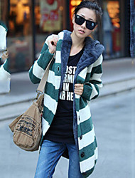 Women's Striped Blue / Red / Green Cardigan , Casual Long Sleeve