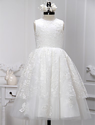 Lanting Bride ® A-line Tea-length Flower Girl Dress - Lace / Tulle Sleeveless Jewel with Lace
