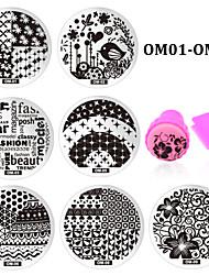 10pcs Nail Art Stencils Stamping Template Polish Print Nail Image Plate Stamper Scraper Set DIY Manicure Tools
