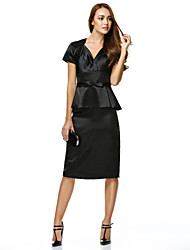 TS Couture Cocktail Party Dress - Little Black Dress Sheath / Column V-neck Knee-length Charmeuse with Bow(s)