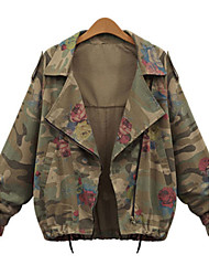 Fashion Plus Sizes Women's Camouflage Tooling Shirt Collar Long Sleeve Casual Coat For Jackets