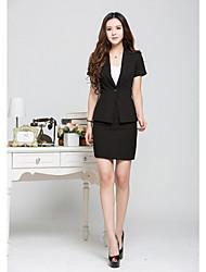 Women's Solid Black / Beige Blazer , Work Deep V Short Sleeve