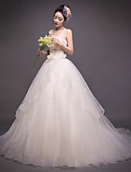 Vestido de Noiva - Champagne Trapézio Sem Alças Cauda Corte Organza