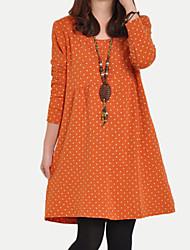Ample Robe Femme Décontracté / QuotidienPoints Polka Col Arrondi Au dessus du genou Manches Longues Noir Vert Orange Polyester AutomneNon